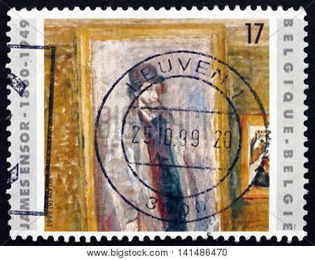 BELGIUM - CIRCA 1999: a stamp printed in the Belgium shows My Favorite Room Painting by James Ensor Belgian Painter and Printmaker circa 1999