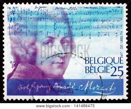 BELGIUM - CIRCA 1991: a stamp printed in the Belgium shows Wolfgang Amadeus Mozart Composer circa 1991