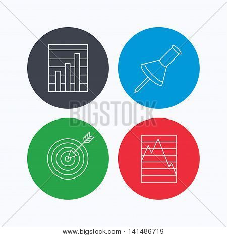 Pushpin, graph charts and target icons. Supply and demand linear signs. Linear icons on colored buttons. Flat web symbols. Vector