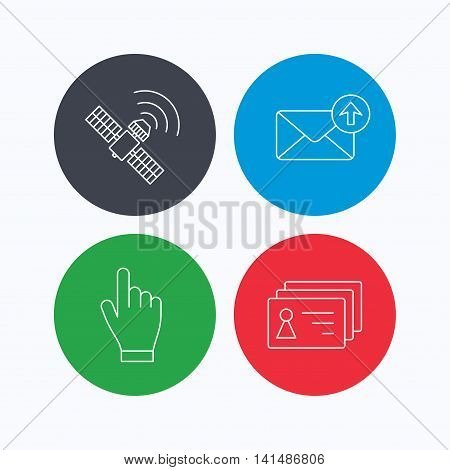 Hand pointer, contacts and gps satellite icons. Outbox mail linear sign. Linear icons on colored buttons. Flat web symbols. Vector