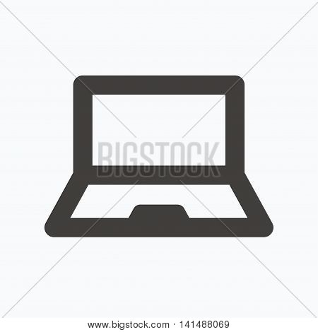 Computer icon. Notebook or laptop pc symbol. Gray flat web icon on white background. Vector
