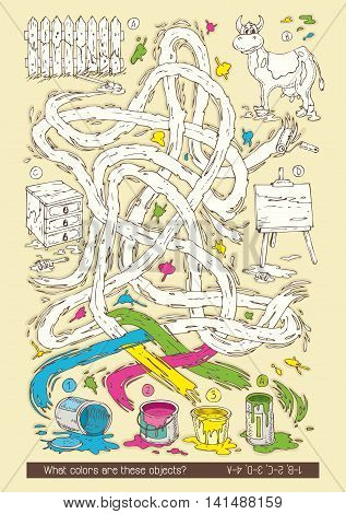Maze Game with Tin Cans of Paint. What Colors Are These Objects. Hand Drawn Vector Illustration