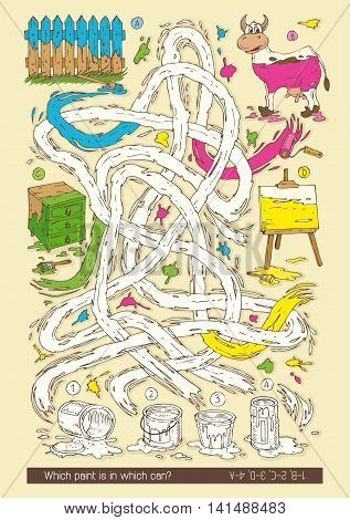 Maze Game with Tin Cans of Paint. Which Paint is an Wich Tin Can . Hand Drawn Vector Illustration