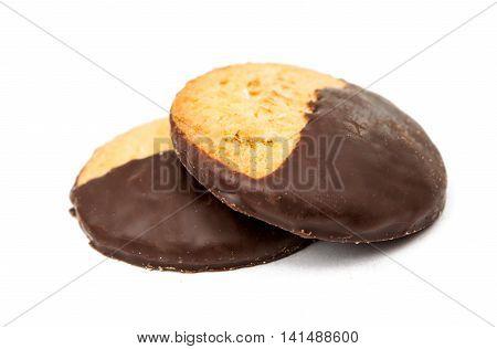 Chocolate dessert cake cookies on white background