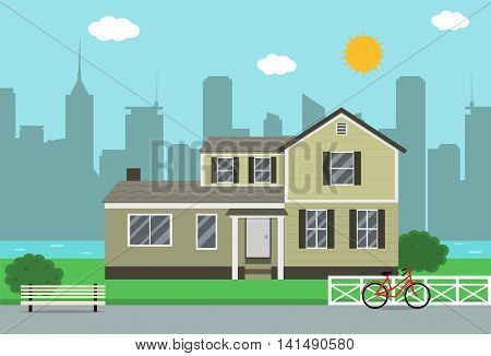 Cottage house building. Traditional house. Flat design style. Vector illustration