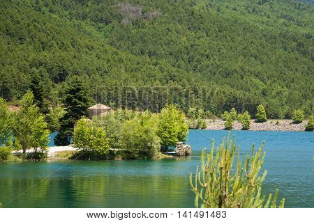 View of lake Doxa in Peloponnese Greece.