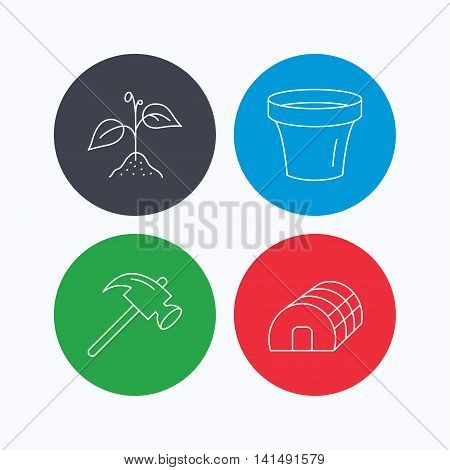 Sprout plant, hammer and pot icons. Hothouse linear sign. Linear icons on colored buttons. Flat web symbols. Vector