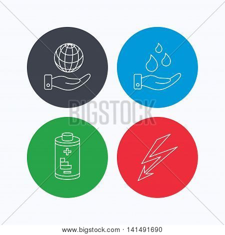 Save planet, water and battery icons. Lightning linear sign. Linear icons on colored buttons. Flat web symbols. Vector