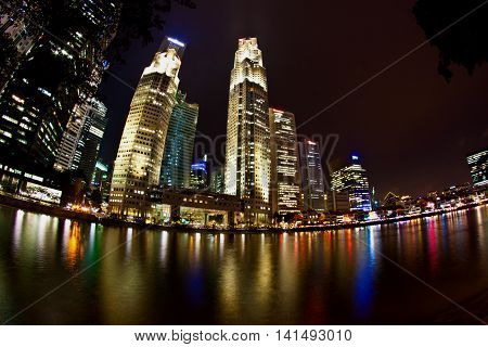 The financial district in Singapore, Asia. Modern City