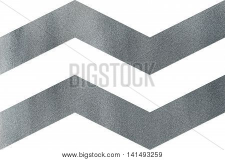 Silver Broken Line On White Background, Chevron.