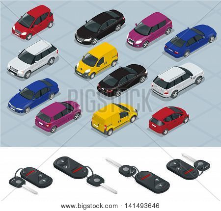 Car and Car keys icons. Car keys. Flat 3d isometric vector high quality city transport car icon set. Car, van, cargo truck, off-road. Transport set. Set of urban public and freight transport