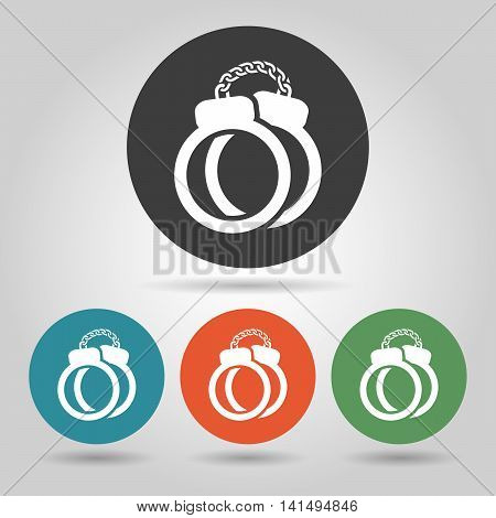 Police Handcuffs icon set in flat style.