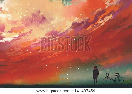 man with bicycle standiing against red clouds in the sky, illustration, digital painting
