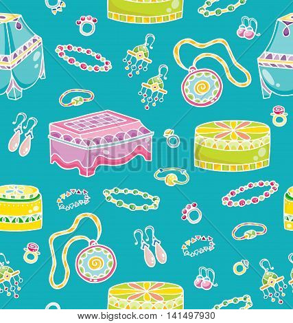 Seamless pattern with jewelries and jewellery boxes