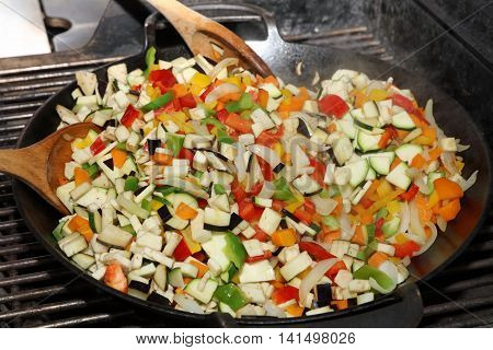 Vegetarian Wok Stir Fry on Barbecue Grill