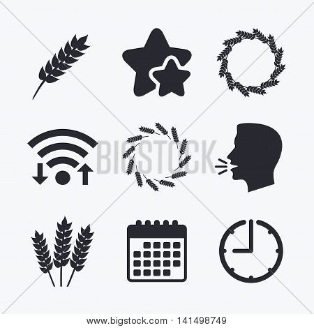 Agricultural icons. Gluten free or No gluten signs. Wreath of Wheat corn symbol. Wifi internet, favorite stars, calendar and clock. Talking head. Vector