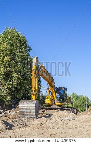 Excavator Jcb On The Heating Main Repair. City Cheboksary, Chuvash Republic, Russia. 08/06/2016