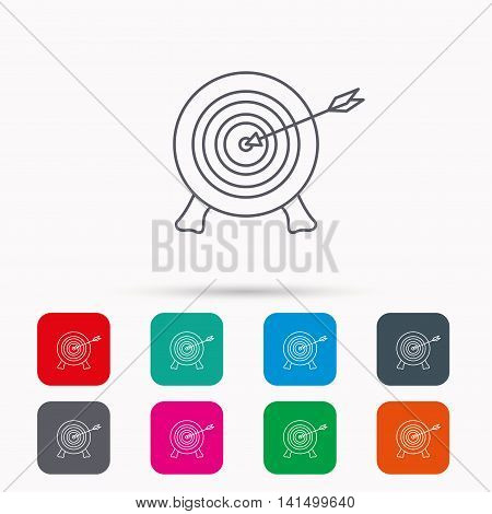 Target with arrow icon. Archery aiming sign. Professional shooter sport symbol. Linear icons in squares on white background. Flat web symbols. Vector