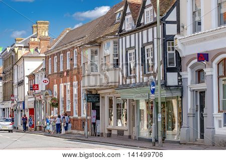 Farnham/UK. 6th August 2016. The Borough with shops and amenities in the town centre of Farnham on a warm August day.