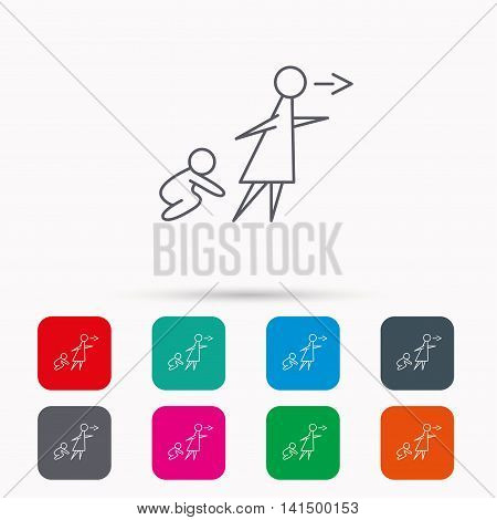 Unattended baby icon. Babysitting care sign. Do not leave your child alone symbol. Linear icons in squares on white background. Flat web symbols. Vector