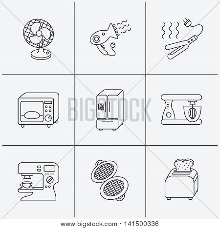 Microwave oven, hair dryer and blender icons. Refrigerator fridge, coffee maker and toaster linear signs. Ventilator, curling iron and waffle-iron icons. Linear icons on white background. Vector