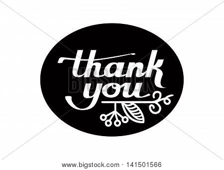 Vector Hand Lettering Thank You Card black and white