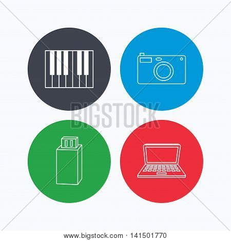 Photo camera, USB flash and notebook laptop icons. Piano linear sign. Linear icons on colored buttons. Flat web symbols. Vector