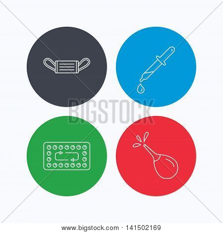 Medical mask, contraception and pipette icons. Clyster linear sign. Linear icons on colored buttons. Flat web symbols. Vector