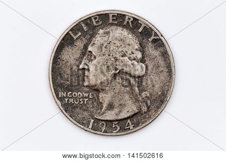 the old dollar coin quarter from 1954