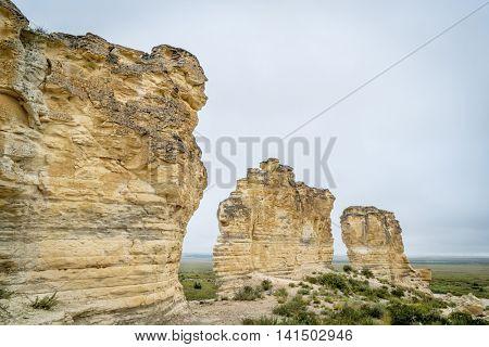 limestone pillar formation near Castle Rock in a prairie of western Kansas near Quinter (Gove County)