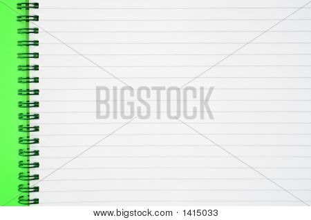 An Open Spiral Notepad With Blank Lined Paper.
