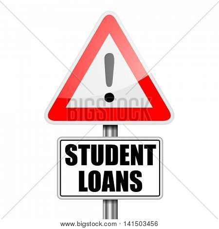 detailed illustration of a red attention Student Loans sign, eps10 vector