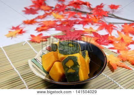 Pumpkin simmered in soup stock of bonito and kelp.
