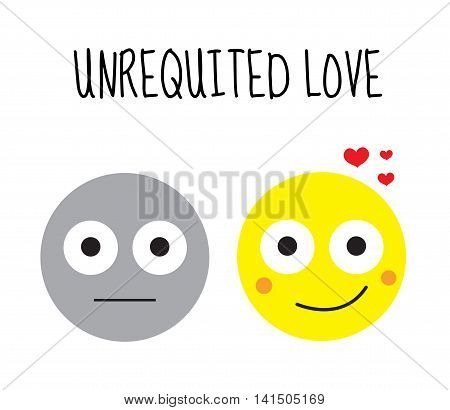 Unhappy love unrequited love. Smilies vector illustration