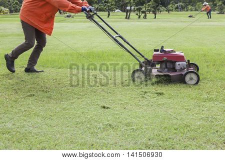 worker and lawn mower working in green grass field