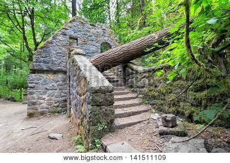 Abandoned stone castle house at Wildwood Trail in Forest Park Portland Oregon