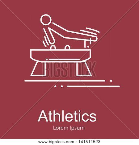 Gymnastics athlete at Pommel Horse doing exercise, sport competition vector illustration