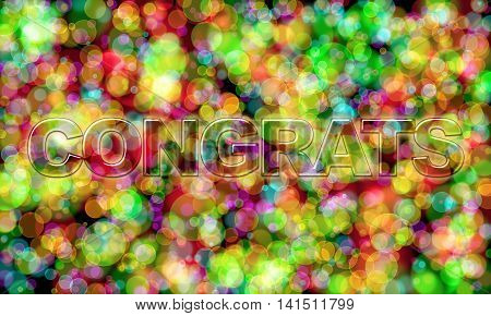 Congrats word on colorful bokeh texture background
