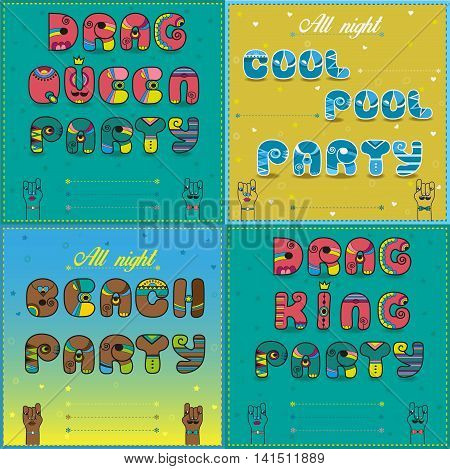 Invitations to party. Vintage artistic font. Drag Queen party. Drag king party. Beach party.Cool pool party. Cartoon hands looking at each other. Place for custom text. Vector Illustration