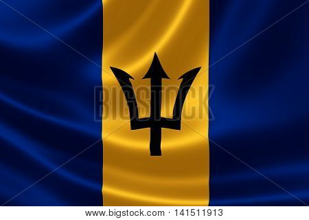 Flag Of Barbados On Satin Texture