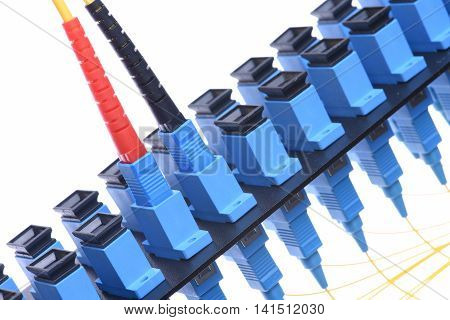 Fiber optical network cable with optical distribution frame isolated on white background