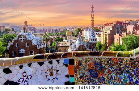 Sunrise Barcelona Gaudi Bench Mosaic