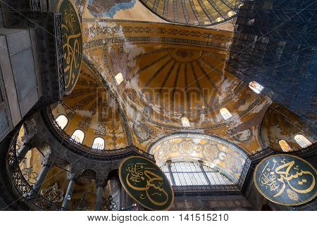 ISTANBUL TURKEY - 1 MAY 2014: Interior of the Hagia Sofia Mosque. The Church of the Holy Wisdom known as Hagia Sophia in Greek Sancta Sophia in Latin and Ayasofya or Aya Sofya in Turkish.