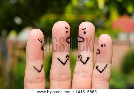 Finger art of people during quarrel. The concept of scandal.