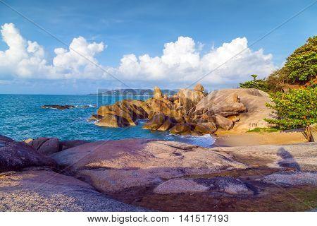 Stone Lamai Beach Rocks Or Hin Ta Hin Yai In Samui Island Thailand