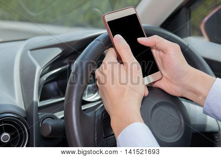 Businessman Texting, Chatting, Playing On Phone While Careless Driving - Distraction Concept