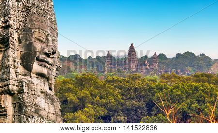 Monument Stone Faces Angkor Wat, Siem Reap, Cambodia.