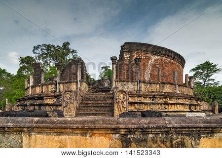 Ancient Polonnaruwa Vatadage Ruins In Polonnaruwa City Temple Unesco