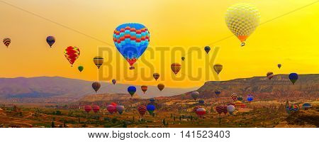 Colorful Hot Air Balloon In The Mountain Sunrise