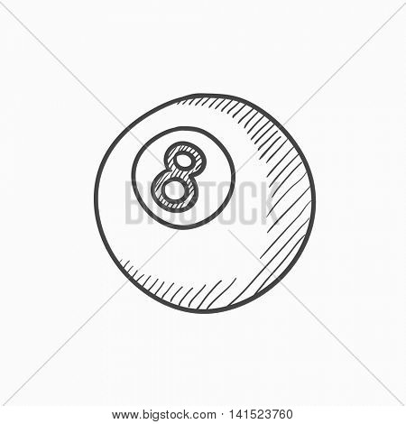Billiard ball vector sketch icon isolated on background. Hand drawn Billiard ball icon. Billiard ball sketch icon for infographic, website or app.
